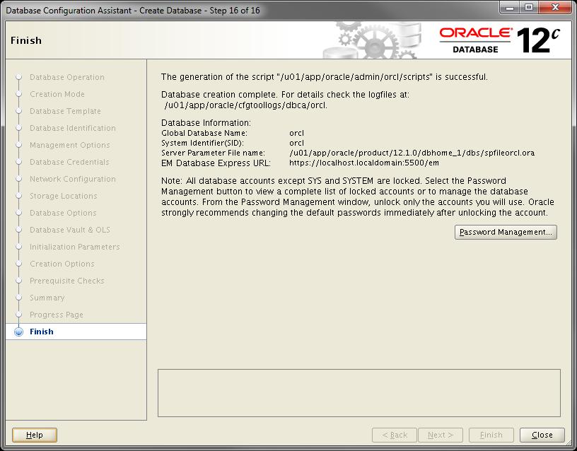 2014-07-30 14_46_52-Database Configuration Assistant - Create Database - Step 16 of 16